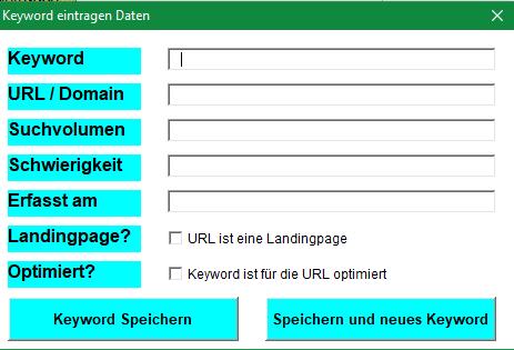 Neues Keyword eintragen in der Excel Vorlage SEO-Rec